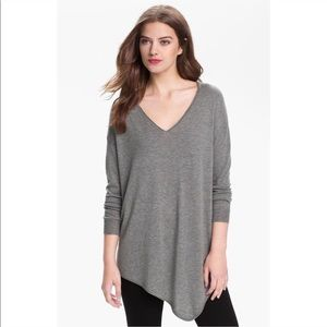Joie Armelio Sweater Asymmetrical Hem Gray V-Neck